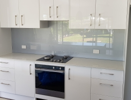 6mm Satin Silver Toughened Splashback by Graphic Glass Services