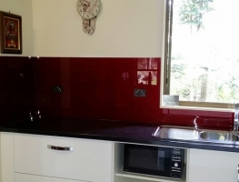 Candy Apple Red Glass Splashback by Graphic Glass Services Qld