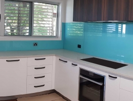 Colourback Glass Splashback in Tropical Splash  by Graphic Glass Services Qld