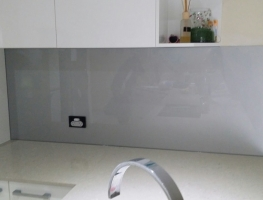 Dulux Metal White Glass Splashback by Graphic Glass Services Qld