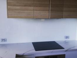 White Colourback Glass Kitchen Splashback by Graphic Glass Services Qld