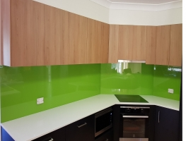 Glass Coloured Splashback in La La Lime by Graphic Glass Services