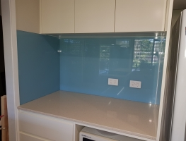 Graphic Glass Services Qld Lagoon Blue on Low Iron Toughened Glass