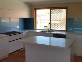 Graphic Glass Shimmer Blue Glass Toughened Splashback