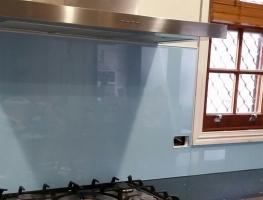 Light Blue Super Sparkle Colourback Glass Splashback by Graphic Glass Services Qld