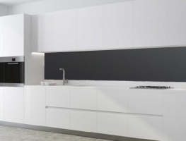 Matt Black Glass Splashback by Graphic Glass Services
