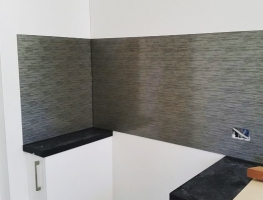 Patterned Colourback Glass Kitchen Splashback by Graphic Glass Services Qld