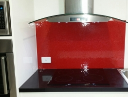 Red Oceanic Patterned Glass Splashback by Graphic Glass Services Qld