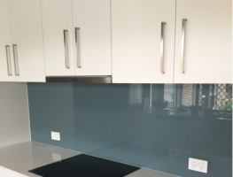 Western Sky Blue Glass Splashback by Graphic Glass Services Qld