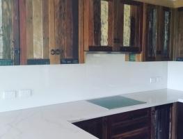 Classic White Colourback Glass Kitchen Splashback by Graphic Glass Services Qld