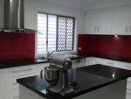 Red Colourbacked Patterned Glass Kitchen Splashback by Graphic Glass Services Qld