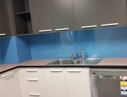 Blue Colourback Glass Kitchen Splashback by Graphic Glass Services Qld