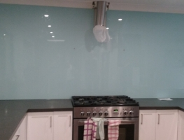 Glass Splashback to ceiling height by Graphic Glass Services Qld