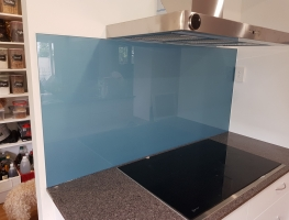 Graphic Glass Shimmer Blue Glass Splashback