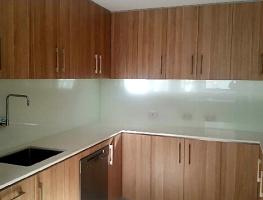White Colourback Kitchen Glass Splashback