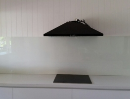 Colourback Glass Splashback in Baker White by Graphic Glass Services Qld