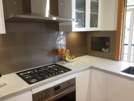Bronze Metallic Colourback Splashback by Graphic Glasss Services
