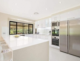 White Colour backed Glass Kitchen Splasback by Graphic Glass Services Qld