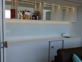 Colour Back Glass Bar Splashback by Graphic Glass Services Qld