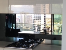 Toughened MIrror Splashback by Graphic Glass Services Qld