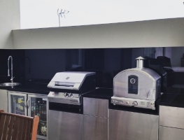 Outdoor Kitchen Black Colourback Glass Kitchen Splashback by Graphic Glass Services Qld