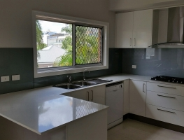 Colour Backed Glass Kitchen Splashback in Satin Silver by Graphic Glass Services Qld