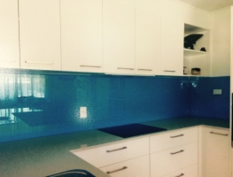 Blue Colourback Glass Splashback by Graphic Glass Serivces Qld