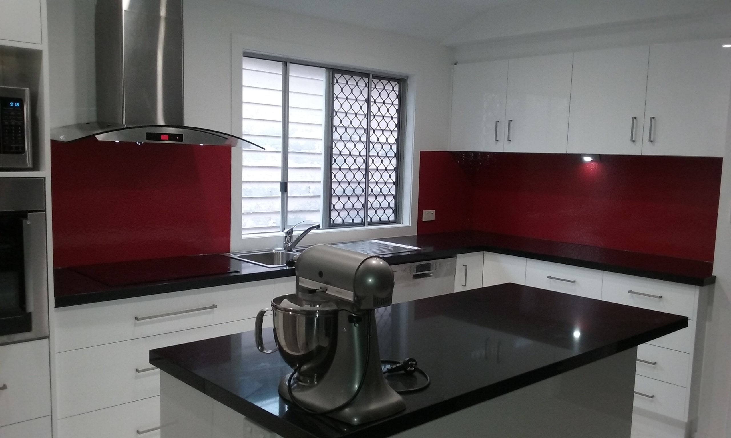 Red Colourbacked Patterned Glass Kitchen Splashback By Graphic Services Qld